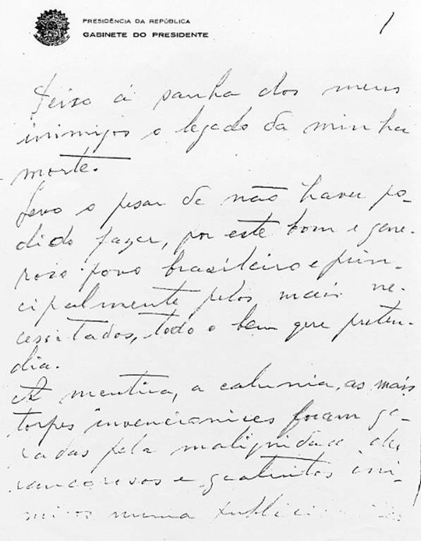 Carta testamento de Getúlio Vargas - Só História
